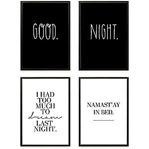 Heimlich ® Premium Poster Set | Stilvolles Set mit passenden Bilder in Schwarz-Weiß | 4 Stück in DIN A4 (21x30cm) | Ohne Bilderrahmen » Good Night «