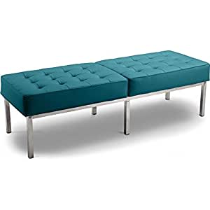 Banc Knoll (3 places) - Style Florence Knoll - Simili Cuir Turquoise