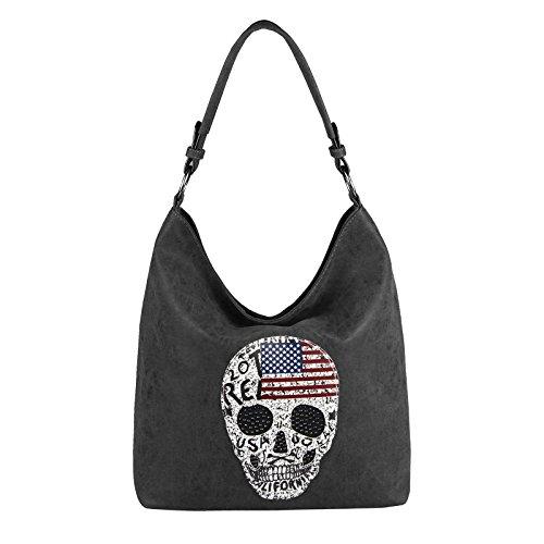 OBC Damen Totenkopf Skulls Tasche Handtasche Shopper Strasssteine USA Flagge Schultertasche Umhängetache Henkeltasche Hobo-Bag (Schwarz)