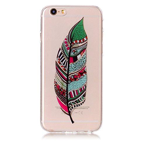 Transparente Cover per iPhone 6,SKYXD Custodia Morbida Liquid Crystal Silicone Gel Gomma TPU Sottile Ultra Thin Slim Case per Apple iPhone 6 / iPhone 6S,Cranio e Fiori Piuma verde