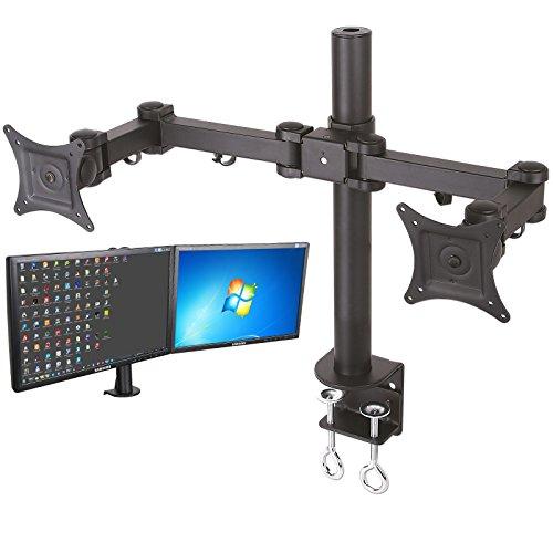2-FACH MONITOR BILDSCHIRM DOPPEL TISCH HALTERUNG LED LCD TFT 3D HD PLASMA (PASST FÜR PHILIPS LG SAMSUNG SONY PANASONIC MEDION ACER) - NEIGBAR + SCHWENKBAR - 18 19 20 21 22 24 26 28 30 31 ZOLL (VESA 75x75 100x100) - TISCHHALTERUNG TISCHHALTER DOPPEL HALTER MIT SCHWENKARM - MODELL: LT5