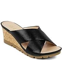 tresmode Womens Slip-on Sandals Black