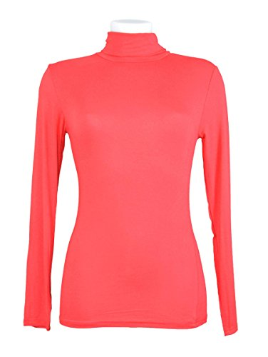 Miss Rouge: T-Shirt, Damenunterziehpulli, lange Ärmel, Rollkragenpullover Rot