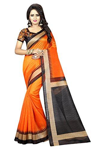 J B Fashion Bhagalpuri Saree With Blouse Piece(H-Saree For Women-Lucky-Fenta_Orange Free Size)