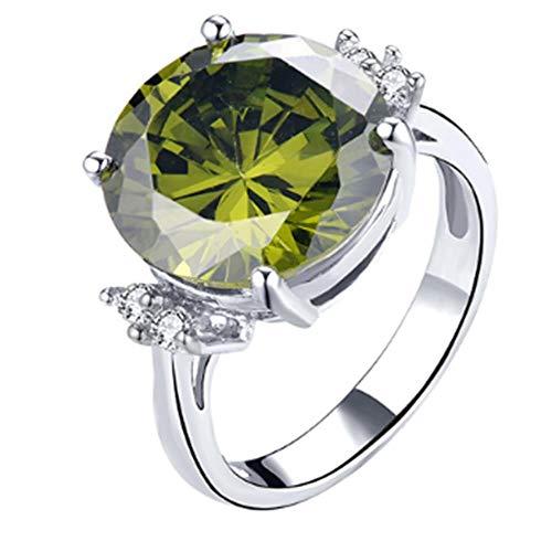 XTLXD Ringe Ringe Für Frauen Silber 925 Schmuck Solitaire Grün Spinell Abschnitt Edlen Schmuck Verlobungsfeier Für Mädchen CHRI