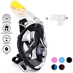 Masque de Plongée 180 Degrés Panoramique-- Masque Facial Masque Intégral de Plongeé en Apnée -- Anti-Brouillard et Anti-Fuites --pour 12+ enfants et adultes (Black, S-M)