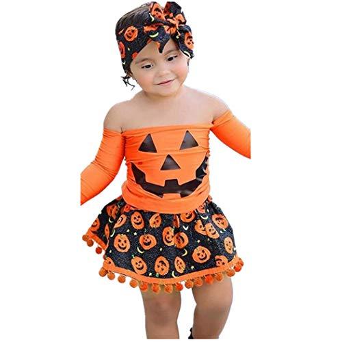 FORH Baby 3 Stücke Set Kleinkind Kinder Mädchen Cartoon Tops Rock Halloween Kostüm Set Off Schulter Oberteile Partei-Outfits Cosplay Kostüm