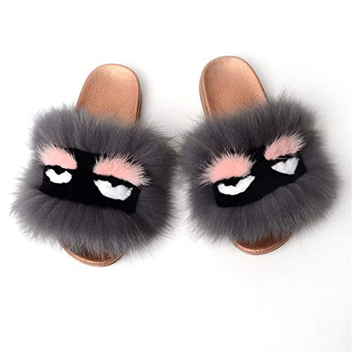 ster Slippers Fluffy Furry Sandals Plush Soft Flat Home Flip Flops Shoes T 8 ()