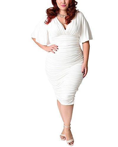 BIUBIU Damen Plus size V-Ausschnitt Bandage Cocktailparty Bodycon Bleistift Kleid Weiß DE 48 (Weißes Kleid Plus Größe)