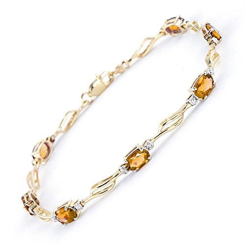 QP Jewellers & Natural Diamond-Bracciale in oro 9 K e quarzo citrino, taglio ovale, 4279Y 3,38ct, Oro giallo, colore: arancione, cod. 4279Y-8.5