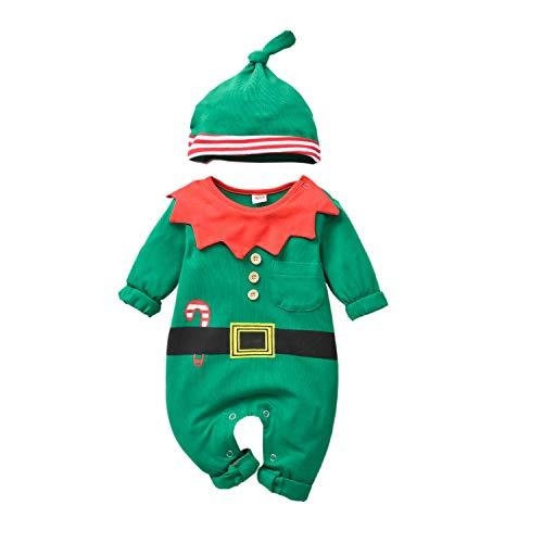 T TALENTBABY Baby Mädchen Jungen Weihnachten Kostüm Santa Elf Helper Print Cane Gürtel Strampler + Streifen Hut Baby Weihnachten Dress Up Elf Kostüm Outfits Set, Grün Rot, 12-18 Monate