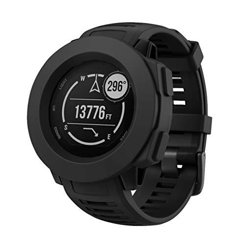 Huhu833 Schutzhülle für Garmin Instinkt, Sport Silikon Rahmen Hülle Bumper Protector Shell für Garmin Instinkt GPS Uhr (Schwarz) (Uhr Bumper)