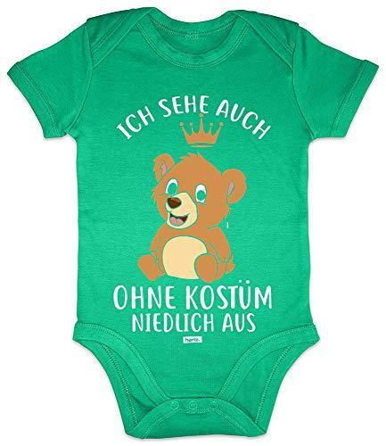 HARIZ Baby Body Kurzarm Ich Sehe Auch Ohne Kostüm Niedlich Aus Bär Karneval Verkleidung Plus Geschenkkarten Frosch Quietsch Grün 3-6 Monate