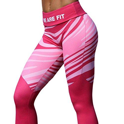 Heiß ! Laufende Hosen,Yanho Frauen zerquetschten Samt Frau Sport Fitnessstudio Yoga Trainieren Mitte Taille Laufhose Fitness Elastische Leggings (Rosa, M)