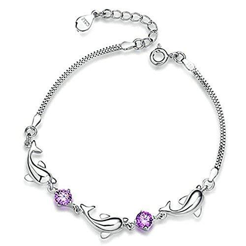 Onefeart 21CM Versilbert Armband Damen Charme Für Mädchen Lila Zirkonia Kristall Delphin