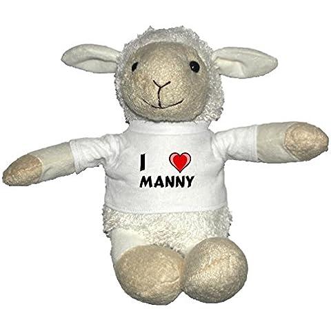 Oveja blanco de peluche con Amo Manny en la camiseta (nombre de pila/apellido/apodo)