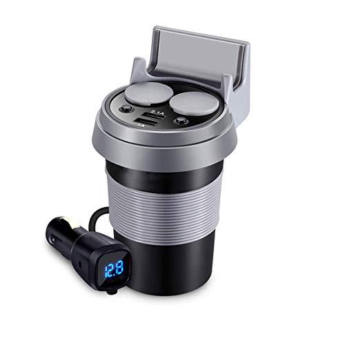 ZDZHU Autotasse Ladegerät - 2-Fach Zigarettenanzünder Power Splitter 5V 3.1A Dual USB + Auto Spannungsprüfer + Handyhalter + EIN/Aus Schalter Für iPhone XS Max/XS/X/IPad/GPS Gps-adapter Home Wand -