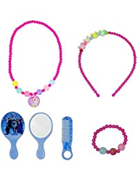 BAAL Girl's Necklace, Hair Band, Beads Bracelet, Earrings, and 2 Teddy Rubber Bands 2 Tic Tac Clips and Finger Ring (Multicolour, hgju) - Pack of 1