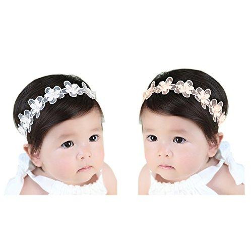 JMITHA 2 Stück Baby Stirnbänder Baby Mädchen Kids Turban Haarband Stirnband Kopfband Baby schmuck Babyschmuck Babygeschenke & Taufe
