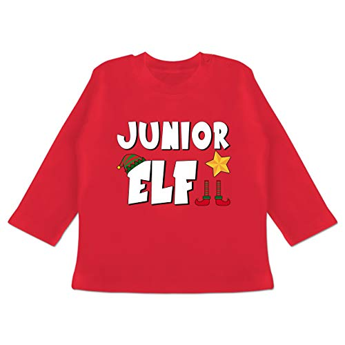 Weihnachten Baby - Partnerlook Junior Elf - 18-24 Monate - Rot - BZ11 - Baby T-Shirt Langarm - Forever Juniors T-shirt