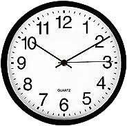ساعة حائط من فاميريتك، ساعات حائط دائرية سوداء 30 سم، وتعمل ببطارية كوارتز صامتة عالية الجودة وسهلة القراءة لل