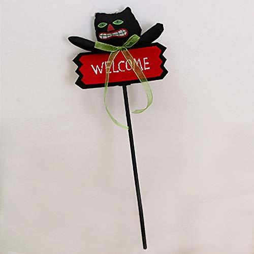 PillowCry Kürbis-Ghost Figur Schild - Welcome - Halloween-Dekoration - Zauberstab, Schwarze Katze, 45 * 15cm
