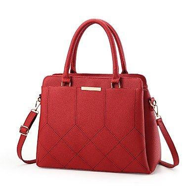 Damenmode PU Leder Plaid Schulter Messenger Crossbody-tasche/Handtasche Tote Blushing Pink