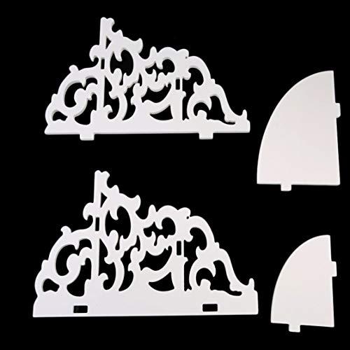 Preisvergleich Produktbild LouiseEvel215 Weißes Holz Wandmontage Mode und Hacke Vintage Dekor Floral Weißes Holz Wand Eckregal Lagerregal Eckregal
