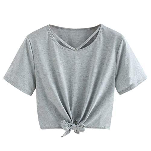 CAOQAO Damen Mode LäSsig Tunika Feste Kurzarm AushöHlen Verband Top Bluse Crop Tops Elegantes Shirt Fitness-T-Shirt(Grau,L)