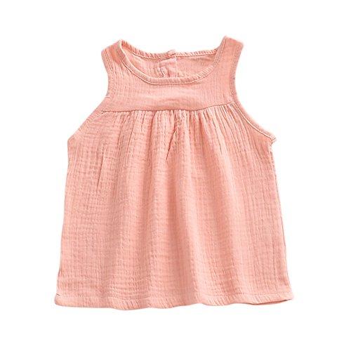Brightup Sommer Tank Tops für Kleine Mädchen Baumwolle und Leinen Weste T Shirt Sommerkleid