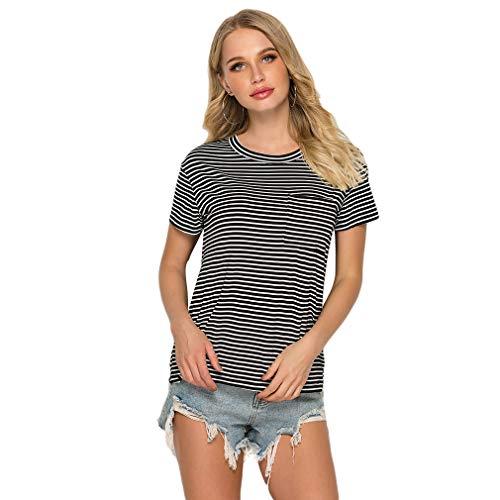 LIGHTBLUE Damen Sommer Kurzarm Gestreiftes T-Shirt Rundhals Basic T-Shirt Lässige Bluse, Schwarze und weiße Streifen, S - Schwarz Gestreiften Shorts