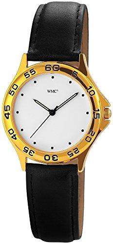 WMC Damenuhr Lederimitationarmband women's watchUhr Armbanduhr Weiß 8814