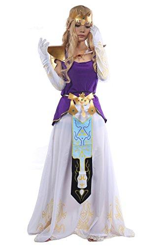 Nexthops Princess Zelda Kostüm Cosplay Costume Set Deluxe Outfit Anime Accessories für Halloween, Karneval und - Prinzessin Zelda Kostüm Kind