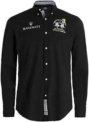 La Martina Hombres Slim fit camisa de irvine Negro