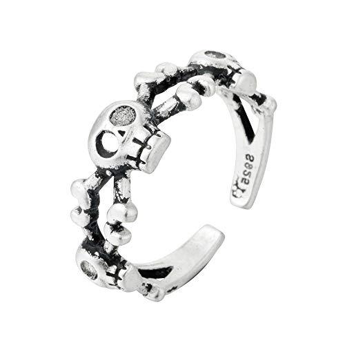 Woman Ring,Antik Silber Schädel Ringe Frauen Männer Schmuck Eröffnung Gothic Vintage Skeleton Ring Mädchen Hip Hop Schmuck (Männer Skeleton Ringe)