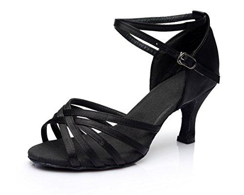 VESI-Zapatos de Baile Latino de Tacón Alto/Medio para Mujer Negro 41