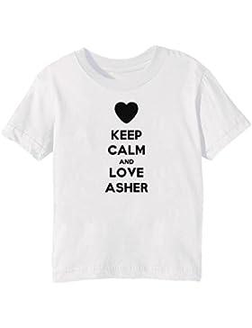 Keep Calm And Love Asher Bambini Unisex Ragazzi Ragazze T-Shirt Maglietta Bianco Maniche Corte Tutti Dimensioni...