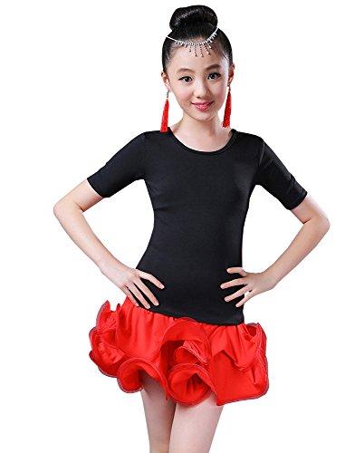 BOZEVON Kinder Mädchen Tanz Kleidung Oberteile + Rock Set Latein Tanzkleid Übung Performances Wettbewerb Kostüm, (Tanz Kostüm Latein Wettbewerbe)