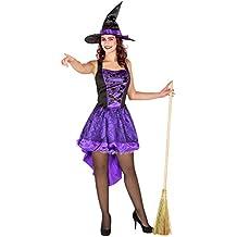 Costume da donna - Vestito da strega sexy | Tessuto di raso lucido | Effetto corsetto sexy | Cappello da strega lucido a punta (M | no. 300083)