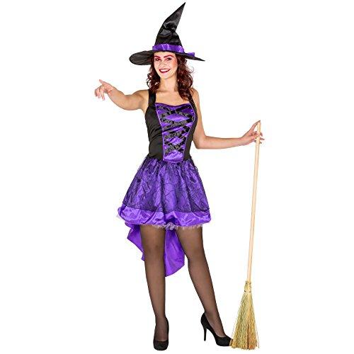 Costume da donna - Vestito da strega sexy | Tessuto di raso lucido | Effetto corsetto sexy | Cappello da strega lucido a punta (L | no. 300084)