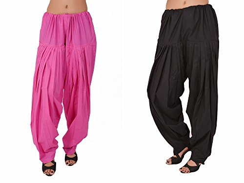 Stylenmart Combo Offers - Pack of Pink and Black Cotton Patiala Salwar