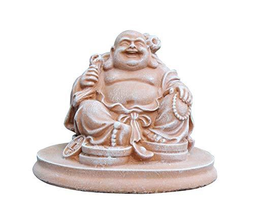 Glücksbuddha Figur Terrakotta als Geschenk, lachende Buddha Statue als Deko für Haus und Garten, Kunsthandwerk aus Deutschland