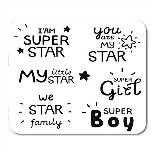 pad-Matte, Boy Black Baby Lettering Inspirational Quote About Star Positive Phrases for Your Designs Badge Brush Mouse Pad,Desktop Computers ()