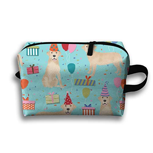 Makeup Cosmetic Bag Yellow Lab Birthday Party Dog Breed Labrador Retriever Blue_19531 Medicine Bag Zip Travel Portable Storage Pouch for Mens Womens 10x4.9x6.3 Inch -