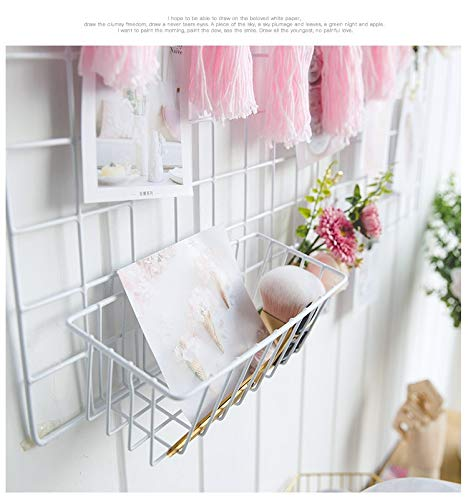 Maggies Grid Wall Decor Gitterwandregal, hängendes gerades Regal für Gitter-Foto-Wand, großer Draht-Gestell-Organisator und Anzeigen-Regal, Größe 9x4x3in, Weiß -