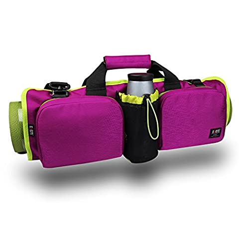 BUBM Yoga Mat Bag, Gym Kit Shoulder Bag with Multiple Pockets, Waterproof, Extra Wide for Carrying All, Perfet for Women Pilates/Gym/Yoga Equipment, Purple