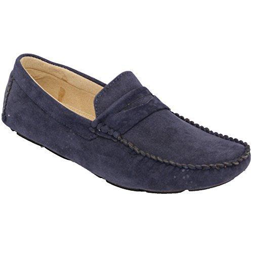 Herren Mokassins Wildleder Look Schuhe Boot Ohne Bügel Troddel Slipper Smart Formaler Marineblau - GH603