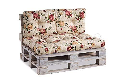 Palettenkissen Palettenauflagen Sitzkissen Rückenlehne Gesteppt (Set (Sitzkissen 120x80 +Rückenlehne 120x40), Blumen 4)