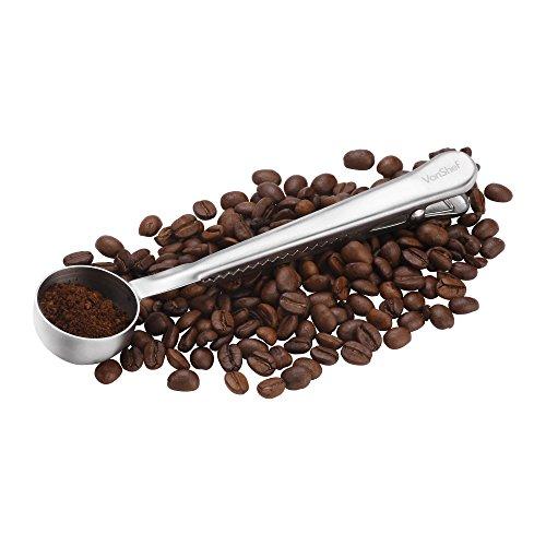 Espresso-kaffee-messlöffel (VonShef Dosierlöffel für Kaffee in Edelstahl mit Clip-Verschluß Frische)