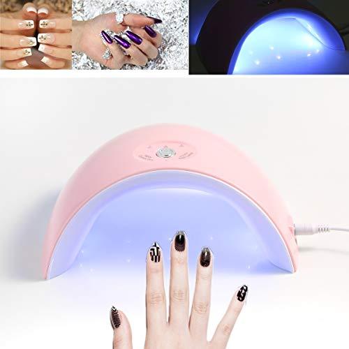 Lampe de séchage USB pour dessiccation à sec pour machine de séchage avec gel UV à 36 LEDs 12 LED LED 30s / 60s / 90s (Color : Pink)